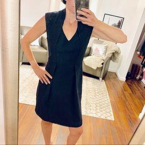 Velvet Black V Neck Fitted Dress Size Medium